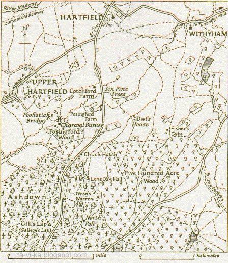 карта сказочного леса Винни-Пуха Winnie-the-Pooh maps