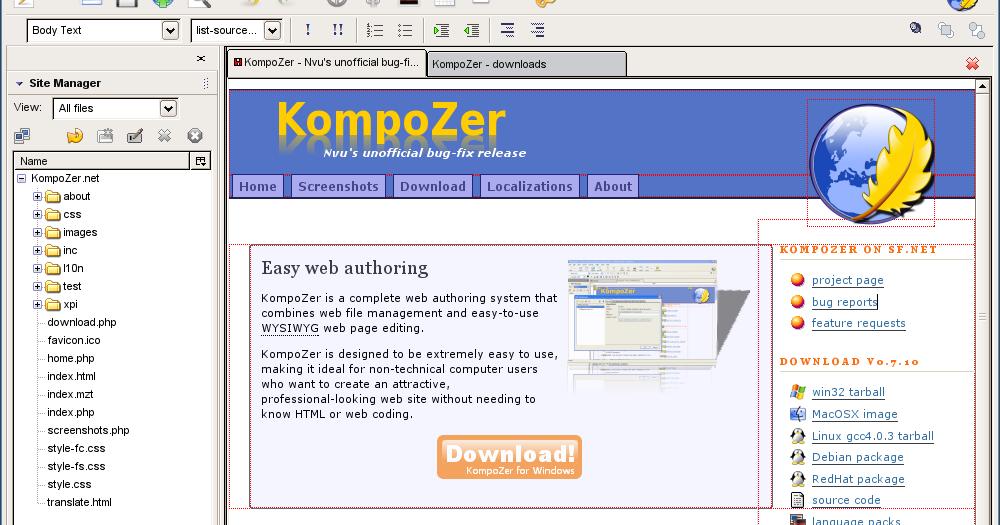 Kompozer der kostenlose html editor zum erstellen von web for Klassisches haushaltsbuch