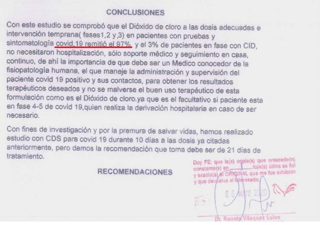 DIOXIDO DE CLORO cura la COVIDen un 97%