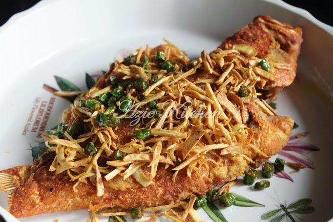 Ikan Kerapu Bara Goreng Halia Dan Bawang Putih - Azie Kitchen