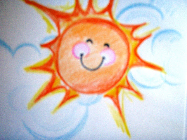 happy sun shining funny kid coloured pencil drawing