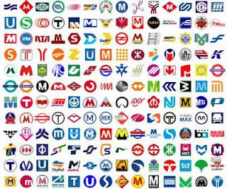 imagen de varios logotipos de las diferentes líneas de metro