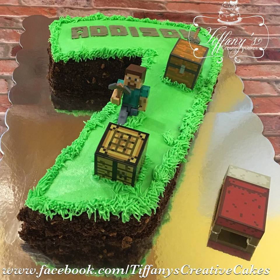 Number 7 Minecraft Cake With Chocolate Dirt Tiffanys Creative Cakes