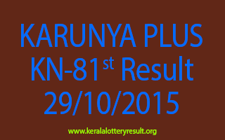 KARUNYA PLUS KN 81 Lottery Result 29-10-2015