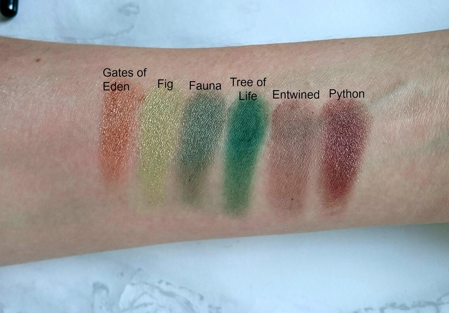 Sleek garden of eden palette swatches