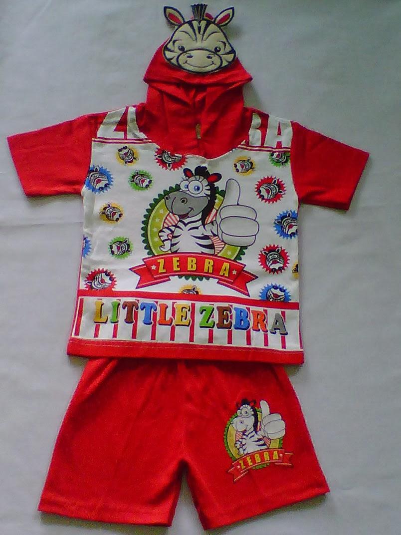 Setelan Hoodi Bahan Little Zebra Merah