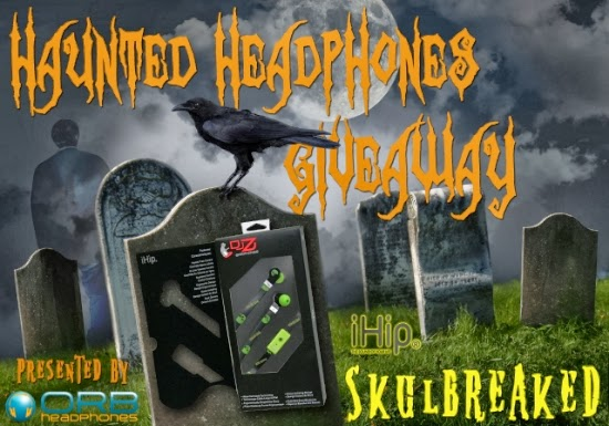 Enter to win iHip DJZ Earphones that are green and black with skulls. Ends 10/30