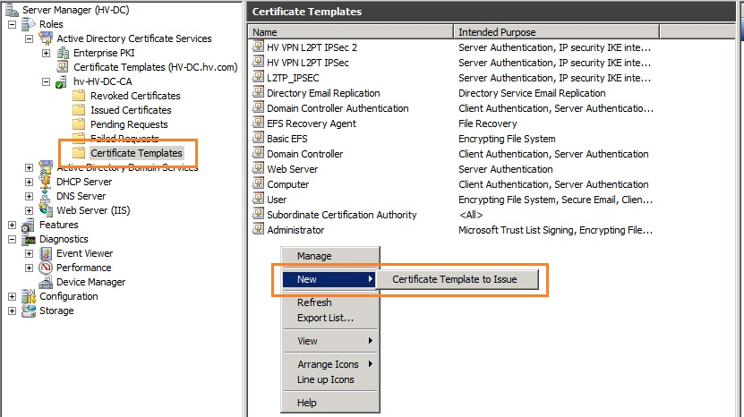 Ariess sysadmin blog create l2tpipsec certificate for tmg 2010 on the enable certificate templates page select hv vpn l2tp ipsec 2 on the list and click ok yadclub Image collections