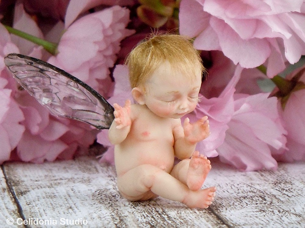 OOAK Baby Fairy sculpted in Polymer Clay
