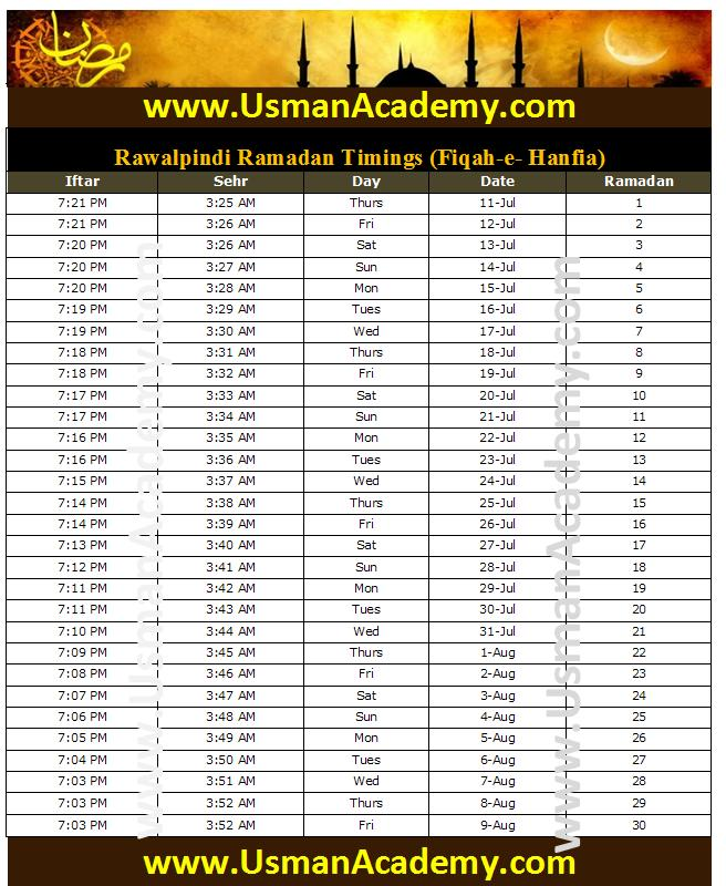 Timings 2013 Calendar Islamabad Ramazan Sehar-o-Iftar Time Table 2013