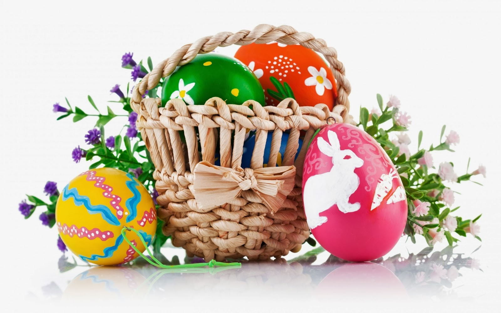 Little Easter Basket And Decorated Eggs