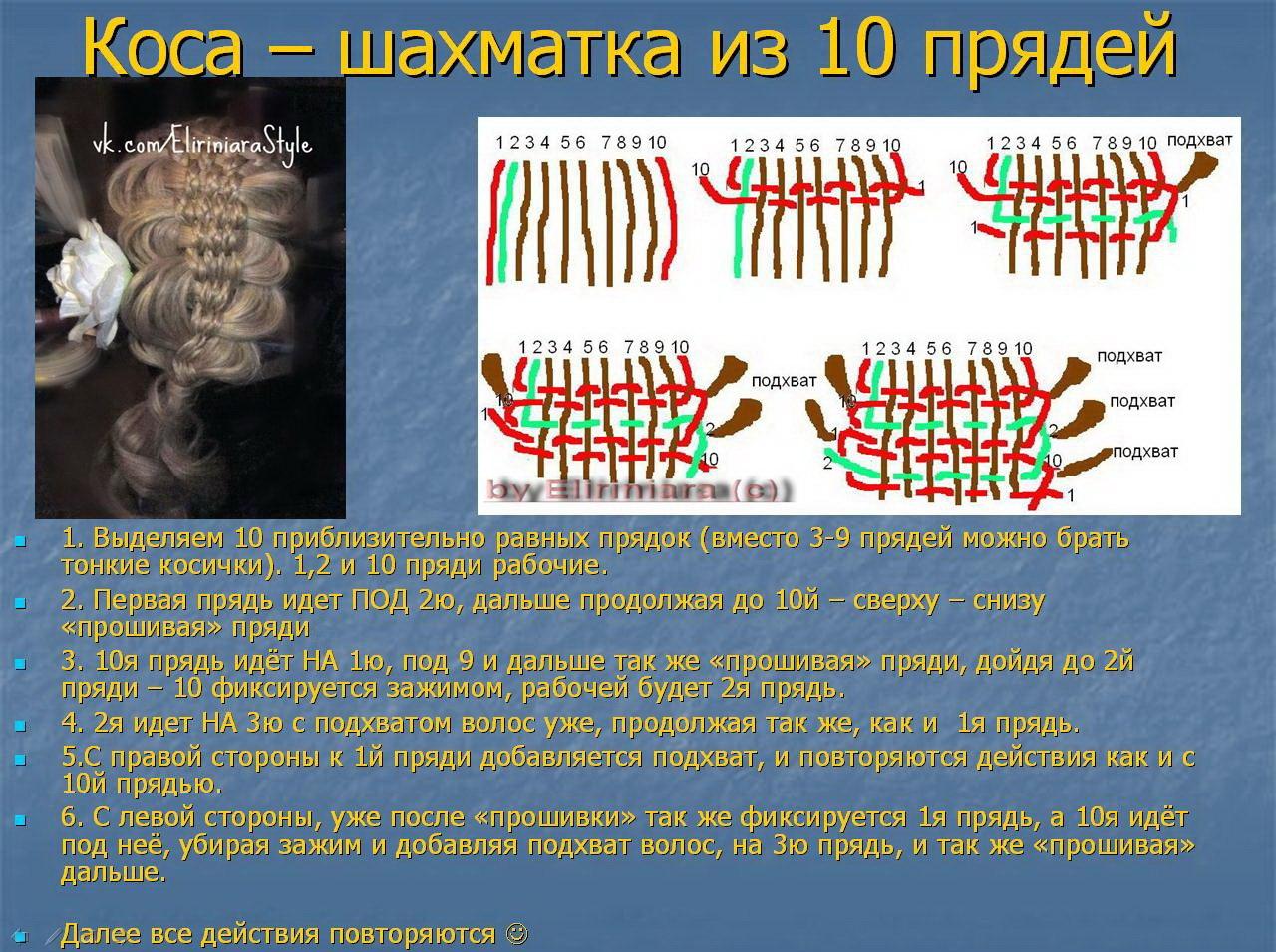Коса из 6 прядей : Схема плетения. Фото 4