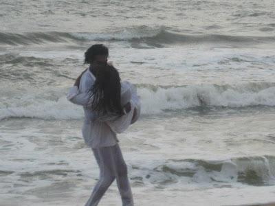Sri Lankan MP Upeksha Swarnamali  with Akalanka Ganegama Beach Photo