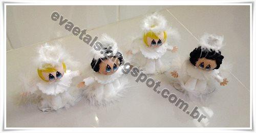Anjinhos de cabelo preto e louro