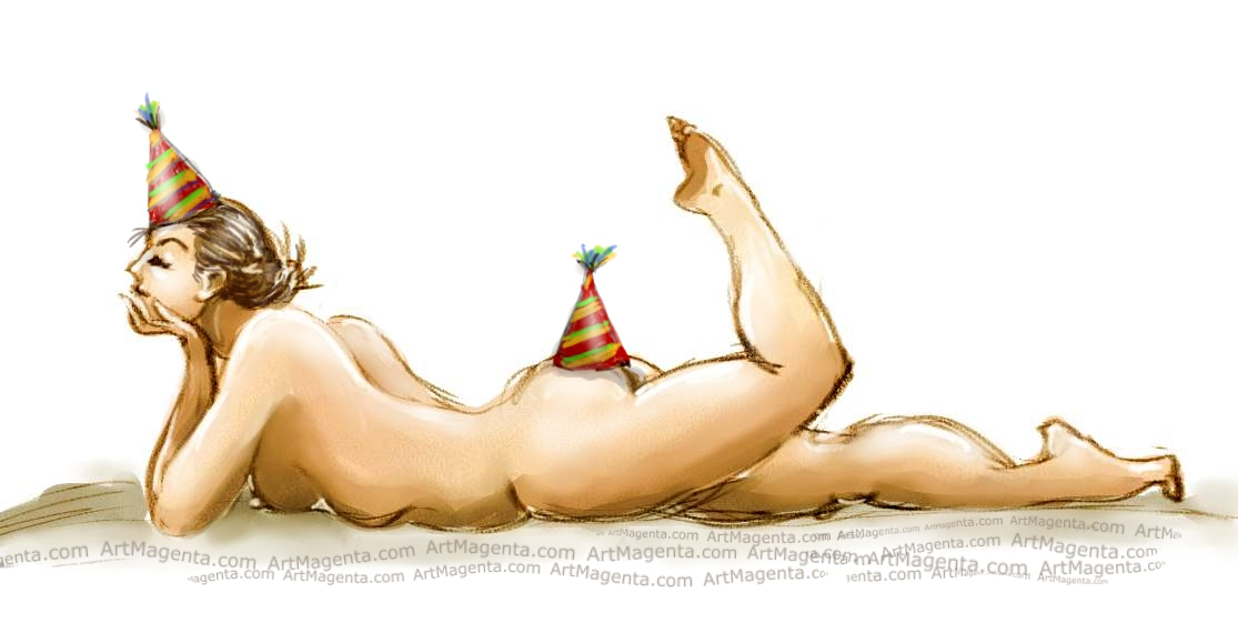 Figure drawing greeting card by Artmagenta.