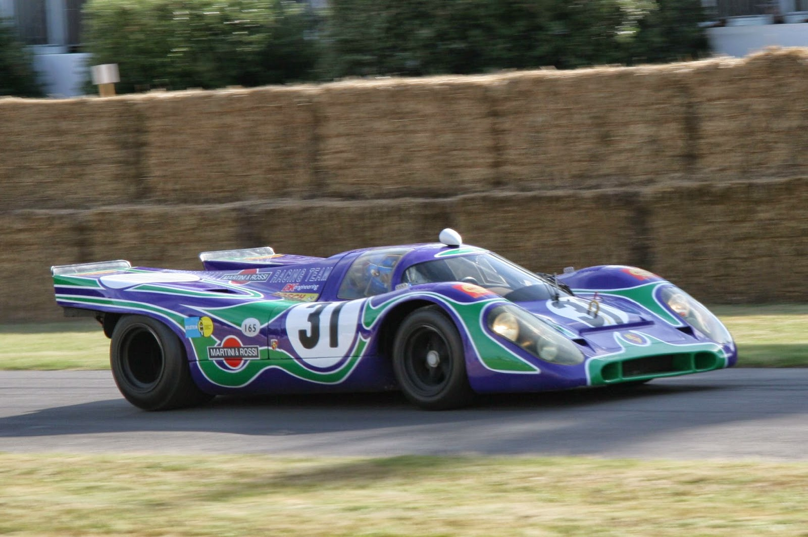 The Martini Racing blue and green -psychedelic- livery on a 1970 917K. This car raced at Watkins Glen in 1970.
