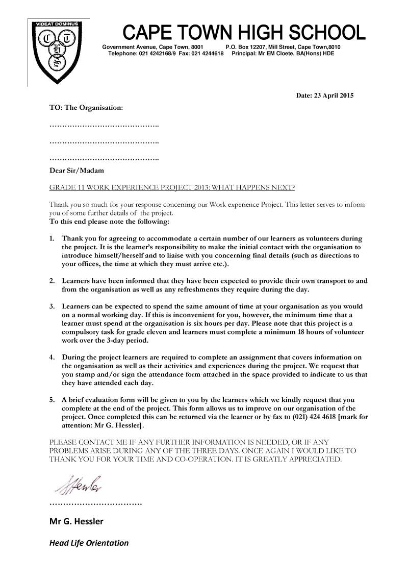 Cape Town High School CTHS Grade Ten Eleven Evaluation Forms – Orientation Evaluation Form