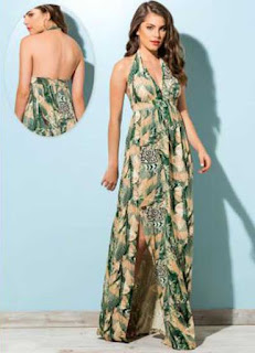 vestido longo estampado frente única - fotos e modelos