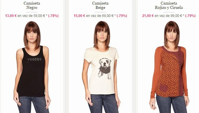 Ejemplos de camisetas de tirantes, manga corta y manga larga en oferta