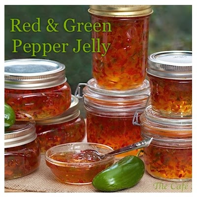 Red & Green Pepper Jelly - thecafesucrefarine.com