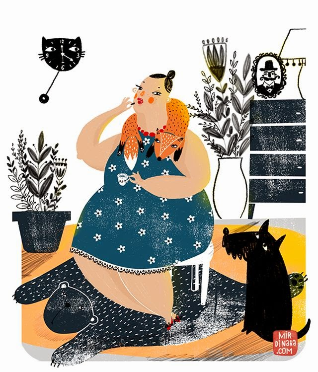 fat lady illustration by Dinara Mirtalipova