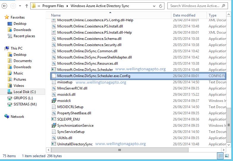Como alterar o intervalo de replicação do DirSync - Windows Azure Active Directory Sync Tool