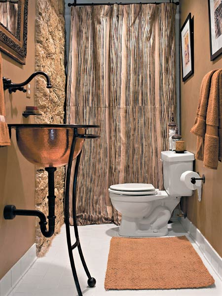 House designs half baths decorating ideas for Copper bathroom ideas