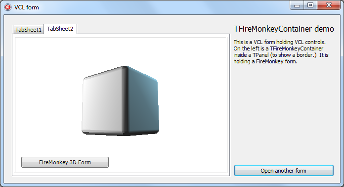 A 3d firemonkey form embedded in a vcl application, using tfiremonkeycontainer