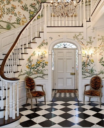 Fabulous foyers preppy empty nester f for Entry hall wallpaper ideas