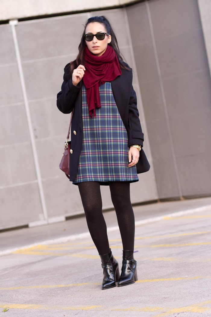 Checked Dress in Blue tones with blue coat and burgundy scarf by Zara