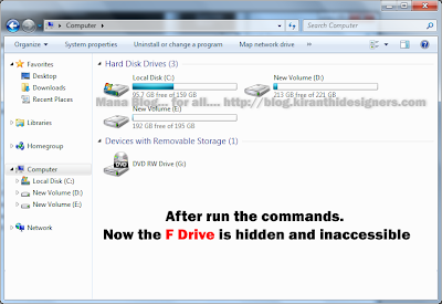 Mana  Blog... for all - Hide Hard Specific Drive in Windows 7/Vista/XP Using Command Prompt