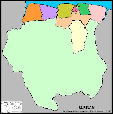 Mapa de la organización política de SURINAM