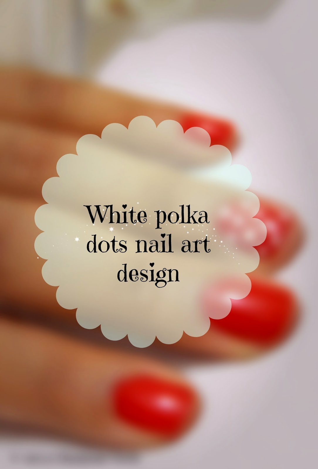 White Polka dots nail art design