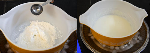 adding cold water to whipped cream powder