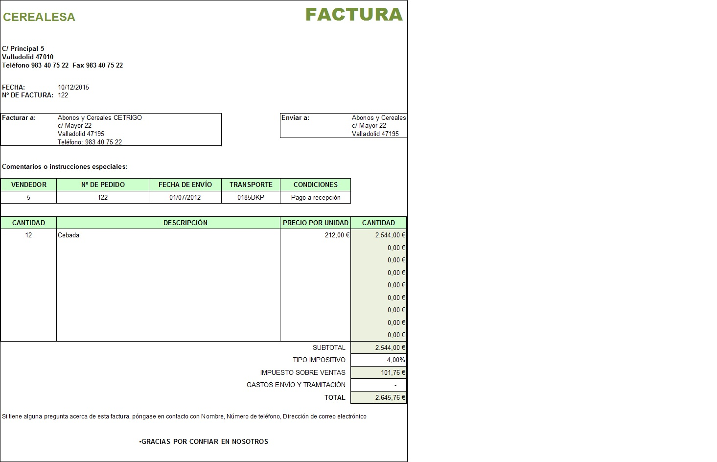 Factura en Excel   Hojas Excel fácil:
