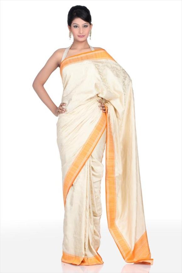 Cream Satin Banarasi Saree