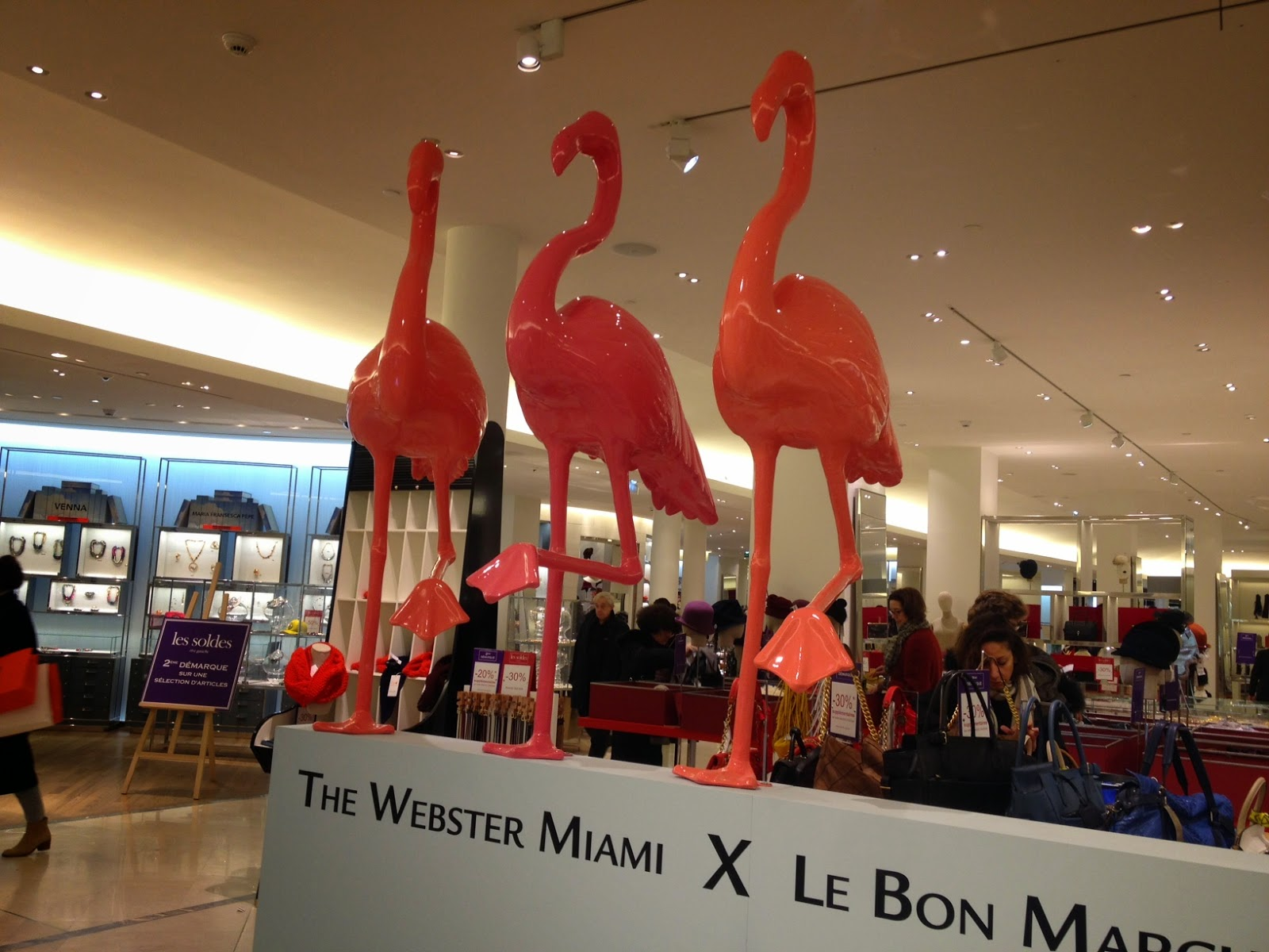 Flamingos at Le Bon Marché, Paris