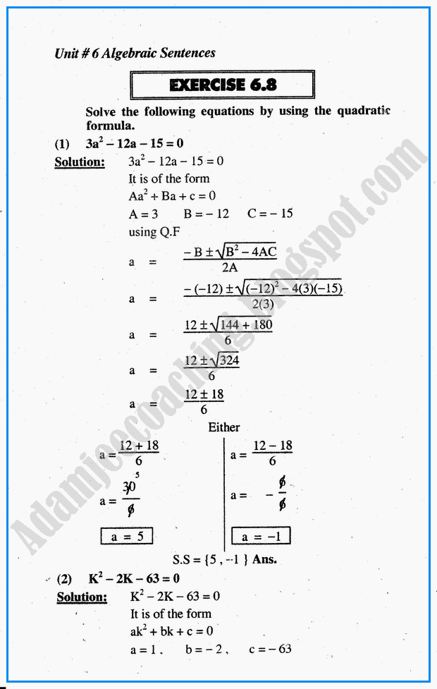 Adamjee Coaching: Algebraic Sentences - Exercise 6.8 - Mathematics 10th