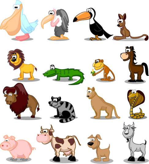 animales tipo cartoon - vector