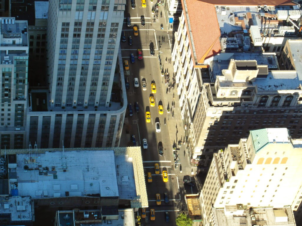 High above the toy cars, Empire State Building