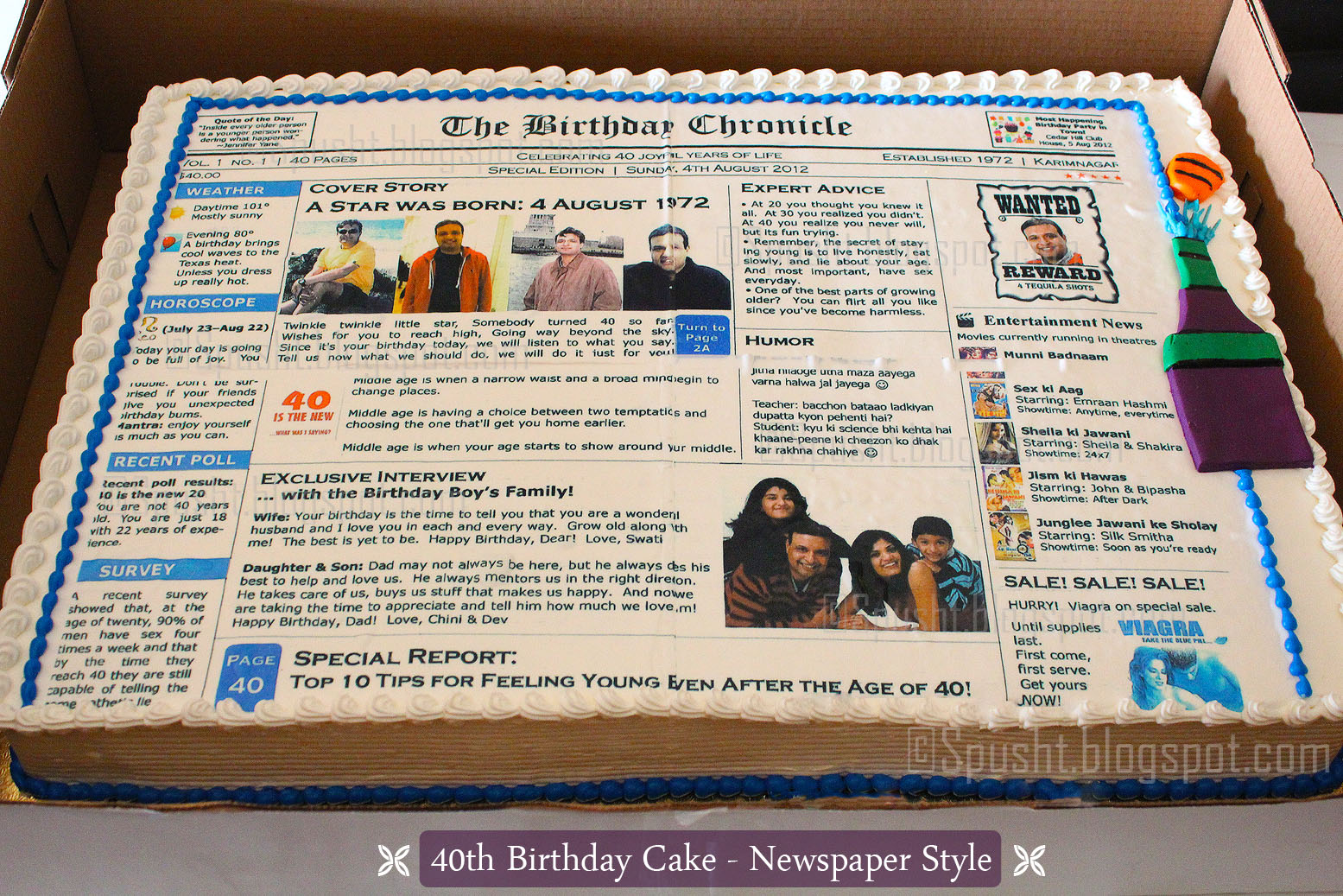 spusht | newspaper theme birthday cake | 40th birthday cake