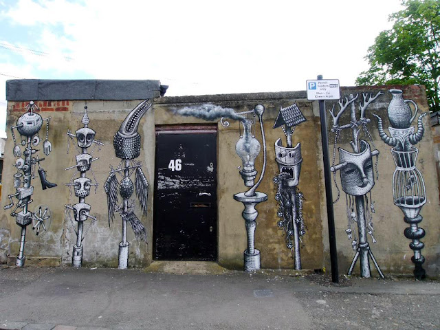 After Conor Harrington a few days ago, Phlegm is the latest artist to participate in the Wood St Walls project which is taking place in London, UK.