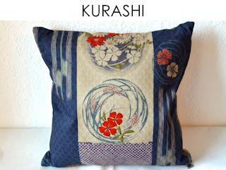 Kissenhülle Kurashi aus japanischen Stoffen von Noriko handmade, japanisch, Japan, handgemacht, Einzelstück, Unikat, Design