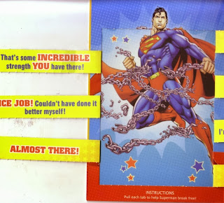 Inside front of Superman chained birthday card with left side pull tabs