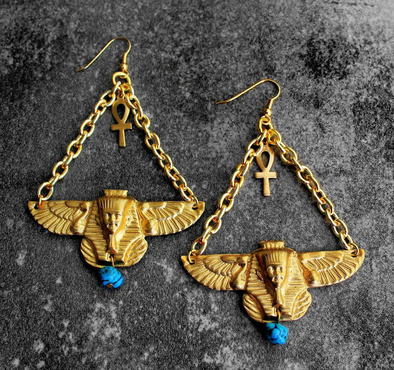 egyptian kemetic brass earrings