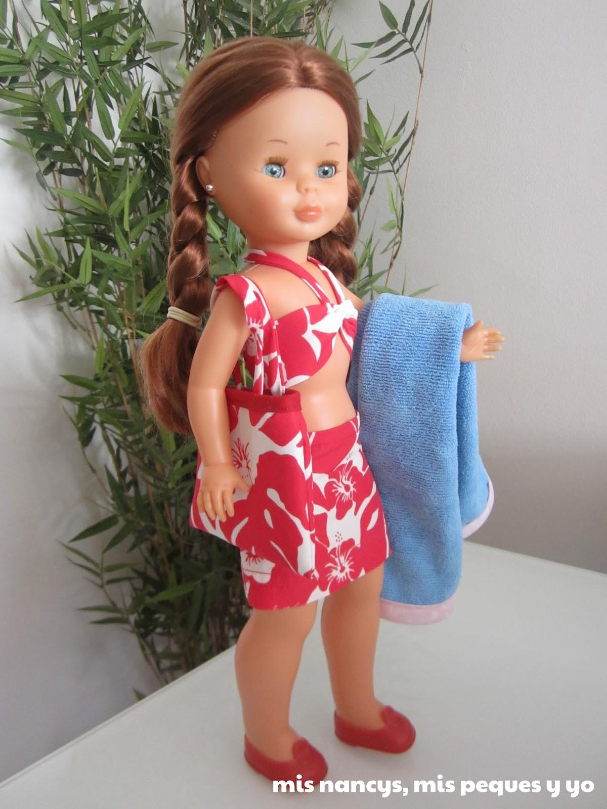 mis nancys, mis peques y yo, conjunto playero: falda, bustier, bolsa y toalla nancy