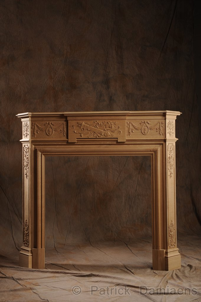 Ornamental woodcarver patrick damiaens wooden mantelpiece with ornaments carved mantelpiece - Fireplace mantel piece ...
