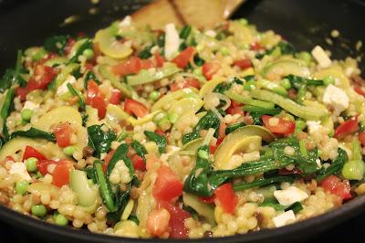 Fregola with summer vegetables