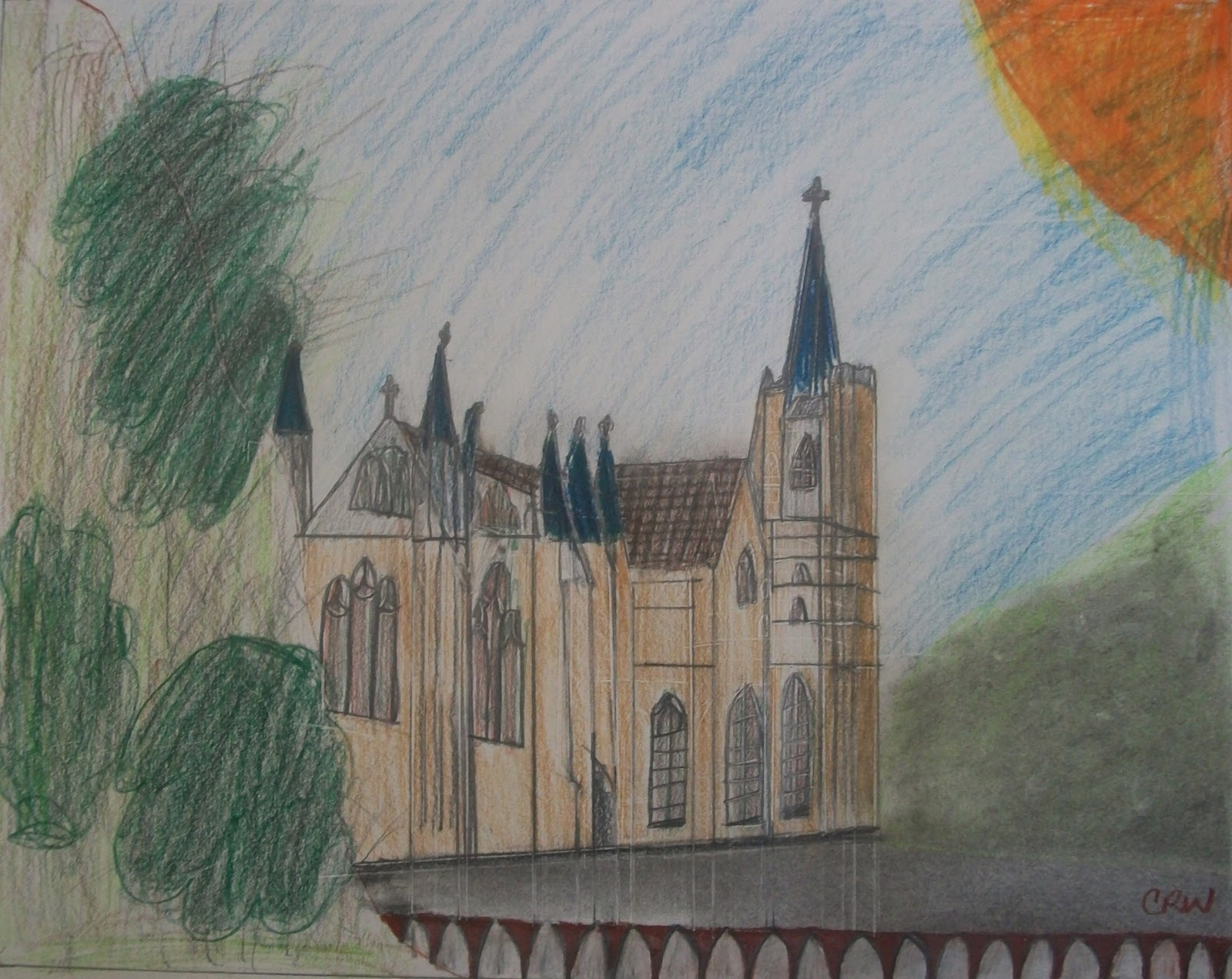 Country Gothic Church Two Point Perspective
