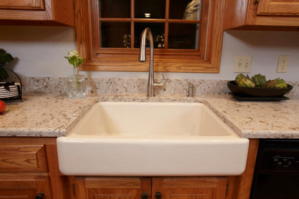 Self Trimming Farmhouse Sink : AFTER: ?I fell in love with the Whitehaven farmhouse sink,? says ...